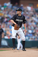 Charlotte Knights starting pitcher Kyle Kubat (19) in action against the Norfolk Tides at BB&T BallPark on July 5, 2019 in Charlotte, North Carolina. The game was suspended in the bottom of the first inning due to wet grounds. (Brian Westerholt/Four Seam Images)