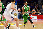 Real Madrid's player Gustavo Ayon and Unics Kazan's player Keith Langford during match of Turkish Airlines Euroleague at Barclaycard Center in Madrid. November 24, Spain. 2016. (ALTERPHOTOS/BorjaB.Hojas)