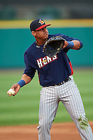 Toledo Mudhens third baseman Jefry Marte (33) warmup throw to first during a game against the Rochester Red Wings on May 12, 2015 at Frontier Field in Rochester, New York.  Toledo defeated Rochester 8-0.  (Mike Janes/Four Seam Images)