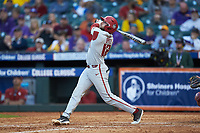 Casey Opitz (12) of the Arkansas Razorbacks follows through on his swing against the Oklahoma Sooners in game two of the 2020 Shriners Hospitals for Children College Classic at Minute Maid Park on February 28, 2020 in Houston, Texas. The Sooners defeated the Razorbacks 6-3. (Brian Westerholt/Four Seam Images)
