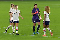 ORLANDO CITY, FL - FEBRUARY 18: Alyssa Naeher #1 celebrates a victory with Casey Krueger #2 during a game between Canada and USWNT at Exploria stadium on February 18, 2021 in Orlando City, Florida.