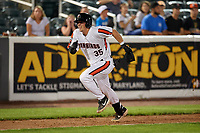 Aberdeen IronBirds Adley Rutschman (35) attempts to score a run after hitting a triple during a NY-Penn League game against the Vermont Lake Monsters on August 19, 2019 at Leidos Field at Ripken Stadium in Aberdeen, Maryland.  Aberdeen defeated Vermont 6-2.  (Mike Janes/Four Seam Images)