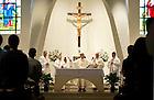Jan. 25, 2013; University President Rev. John Jenkins, C.S.C. concelebrates Mass at St. Agnes Church in Arlington, Virginia before the 2013 March for Life. Photo by Barbara Johnston/University of Notre Dame