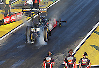Mar. 15, 2013; Gainesville, FL, USA; NHRA top fuel dragster driver David Grubnic during qualifying for the Gatornationals at Auto-Plus Raceway at Gainesville. Mandatory Credit: Mark J. Rebilas-