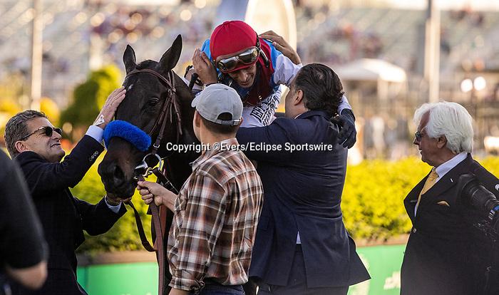 MAY 01, 2021:  Amr Zedan hugs John Velazquez  after Medina Spirit wins the Kentucky Derby at Churchill Downs in Louisville, Kentucky on May 1, 2021. EversEclipse Sportswire/CSM