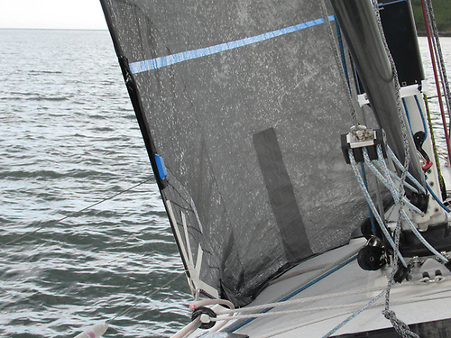Here you can see a Titanium headsail on the J/109; the car is moved well forward, so there is lots of foot round, but the inhauler is not too tight.