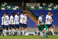 BELFAST, NORTHERN IRELAND - MARCH 28: Gio Reyna #7 of the United States celebrates scoring with teammates during a game between Northern Ireland and USMNT at Windsor Park on March 28, 2021 in Belfast, Northern Ireland.