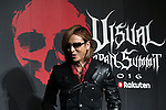 """July 25, 2016, Tokyo, Japan - Japanese visual-type rock singer Yoshiki of X Japan announces he and Sugizo of Luna Sea Takuro of Glay will have collaborated concert with other bands """"Visual Japan Summit 2016"""" in October at a press conference in Tokyo on Monday, July 25, 2016. The three-day concert will be supported by Japanese online commerce giant Rakuten.    (Photo by Yoshio Tsunoda/AFLO) LWX -ytd-"""