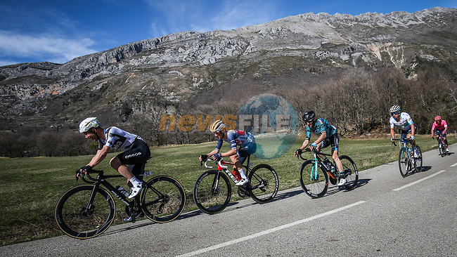 Victor Campenaerts (BEL) Team Qhubeka Assos, Kenny Elissonde (FRA) Trek-Segafredo, Jonathan Hivert (FRA) B&B Hotels/KTM, Julien El Fares (FRA) EF Education-Nippo and Alexey Lutsenko (KAZ) Astana Premier Tech part of the breakaway during Stage 6 of Paris-Nice 2021, running 202.5km from Brignoles to Biot, France. 12th March 2021.<br /> Picture: ASO/Fabien Boukla | Cyclefile<br /> <br /> All photos usage must carry mandatory copyright credit (© Cyclefile | ASO/Fabien Boukla)