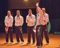 13-sept.-2013,Netherlands, Groningen,  Martini Plaza, Tennis, DavisCup Netherlands-Austria, ,  Presentation of the teams: Ned team Ltr: , Captain Jan Siemerink, Jean-Julien RojerJesse Huta Galung, Robin Haase and Thiemo de Bakker  <br /> Photo: Henk Koster