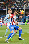 Yannick Ferreira Carrasco of Atletico de Madrid fights for the ball with Hugo Mallo Novegil of RC Celta de Vigo during their La Liga match between Atletico de Madrid and RC Celta de Vigo at the Vicente Calderón Stadium on 12 February 2017 in Madrid, Spain. Photo by Diego Gonzalez Souto / Power Sport Images