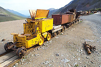 An old ore train sits abandoned at Independence Mine State Historical Park, in the Hatcher Pass area about 50 miles north of Anchorage, Alaska.