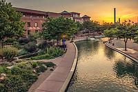 Riverwalk at sunset, downtown Pueblo