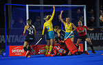 The Hockeyroos celebrate scoring the opening goal during the Sentinel Homes Trans Tasman Series hockey match between the New Zealand Black Sticks Women and the Australian Hockeyroos at Massey University Hockey Turf in Palmerston North, New Zealand on Tuesday, 1 June 2021. Photo: Dave Lintott / lintottphoto.co.nz