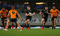 NZ's Beauden Barrett looks for support during the Bledisloe Cup rugby match between the New Zealand All Blacks and Australia Wallabies at Eden Park in Auckland, New Zealand on Saturday, 14 August 2021. Photo: Simon Watts / lintottphoto.co.nz / bwmedia.co.nz