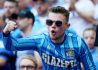 28th May 2018, Wembley Stadium, London, England;  EFL League 2 football, playoff final, Coventry City versus Exeter City; Coventry City fan celebrating after Jordan Shipley of Coventry City scored his sides 2nd goal in the 54th minute to make it 2-0