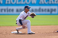 Somerset Patriots shortstop Oswald Peraza (30) waits for a pickoff attempt throw during a game against the Hartford Yard Goats on September 12, 2021 at TD Bank Ballpark in Bridgewater, New Jersey.  (Mike Janes/Four Seam Images)