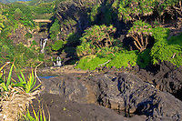 First light of golden sunrise at the seven pools of Ohe'o Gulch in HALEAKALA NATIONAL PARK on Maui in Hawaii USA
