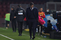 Paulo Fonseca coach of AS Roma dejection during the Serie A football match between Benevento Calcio and AS Roma at Ciro Vigorito stadium in Benevento (Italy), February 21, 2021. <br /> Photo Cesare Purini / Insidefoto