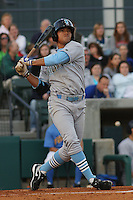 Adrian Ortiz #6 of the Wilmington Blue Rocks  hitting against the Myrtle Beach Pelicans on April 10, 2010  in Myrtle Beach, SC.
