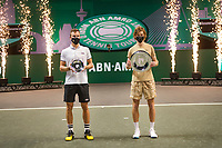 Rotterdam, The Netherlands,7 march  2021, ABNAMRO World Tennis Tournament, Ahoy,  <br /> Final: Finalist Andrey Rublev (RUS) (L) and runner up Marton Fucsovics (R) receive price.<br /> Photo: www.tennisimages.com/