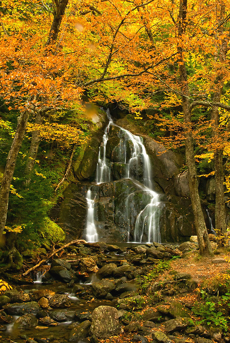 Moss Glen Falls is one of Vermonts most visited waterfalls for good reason. Dropping thirty feet, it has a beautiful pool at its base and is surrounded by deciduous trees which explode in color during autumn.