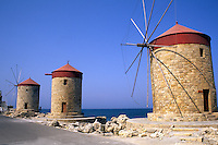 Famous old windmills of Rhodes Greece
