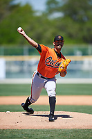 Baltimore Orioles pitcher Jason Garcia (76) delivers a pitch during a minor league Spring Training game against the Boston Red Sox on March 16, 2017 at the Buck O'Neil Baseball Complex in Sarasota, Florida.  (Mike Janes/Four Seam Images)