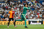 Real Madrid´s goalkeeper Keylor Navas during Santiago Bernabeu Trophy match at Santiago Bernabeu stadium in Madrid, Spain. August 18, 2015. (ALTERPHOTOS/Victor Blanco)