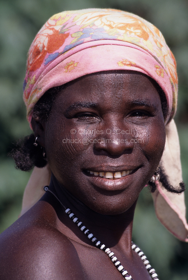 Maraka, near Madarounfa, Niger, West Africa.  Hausa Woman with Facial Scarification.