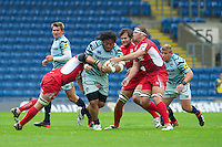 Logovi'i Mulipola of Leicester Tigers charges upfield during the Aviva Premiership match between London Welsh and Leicester Tigers at the Kassam Stadium on Sunday 2nd September 2012 (Photo by Rob Munro)