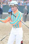 April 12, 2014: Jockey Calvin Borel before the start of the Arkansas Derby (Grade I) at Oaklawn Park in Hot Springs, AR. Zoie Clift/ESW/CSM