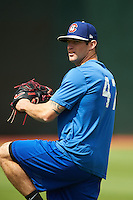 Chattanooga Lookouts pitcher Jake Reed (47) during practice before a game against the Jacksonville Suns on April 30, 2015 at AT&T Field in Chattanooga, Tennessee.  Jacksonville defeated Chattanooga 6-4.  (Mike Janes/Four Seam Images)