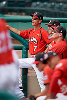 Canadian Junior National Team coach Greg Hamilton (7) in the dugout during a Florida Instructional League game against the Atlanta Braves on October 9, 2018 at the ESPN Wide World of Sports Complex in Orlando, Florida.  (Mike Janes/Four Seam Images)