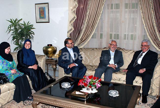 Palestinian President, Mahmoud Abbas (Abu Mazen) meets with the leader of Tunisia's Renaissance Party, Sheikh Rashid Ghannouchi  in Tunisia, on April 30, 2012. Photo by Thaer Ganaim