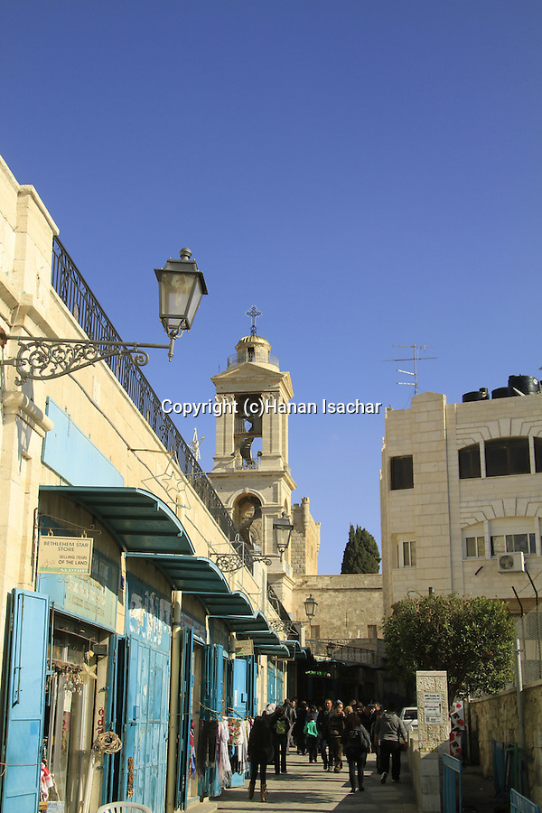 Bethlehem, the bell tower of the Church of the Nativity on Milk Grotto street