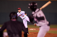 Lansing Lugnuts relief pitcher Marcus Reyes (10) during a Midwest League game against the Wisconsin Timber Rattlers at Cooley Law School Stadium on May 2, 2019 in Lansing, Michigan. Lansing defeated Wisconsin 10-4. (Zachary Lucy/Four Seam Images)