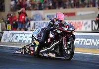 Jul, 22, 2011; Morrison, CO, USA: NHRA pro stock motorcycle rider Angie Smith during qualifying for the Mile High Nationals at Bandimere Speedway. Mandatory Credit: Mark J. Rebilas-