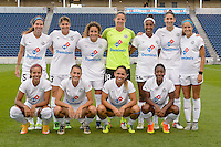 Chicago, IL - Saturday July 30, 2016: FC Kansas City Starting XI prior to a regular season National Women's Soccer League (NWSL) match between the Chicago Red Stars and FC Kansas City at Toyota Park.