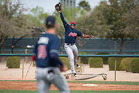 Cleveland Indians first baseman Emmanuel Tapia (28) during a Minor League Spring Training game against the Chicago White Sox at Camelback Ranch on March 16, 2018 in Glendale, Arizona. (Zachary Lucy/Four Seam Images)