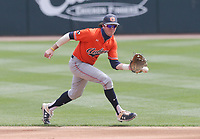 Auburn Brody Moore (19) makes a catch, Saturday, April 3, 2021 during the third inning of a baseball game at Baum-Walker Stadium in Fayetteville. Check out nwaonline.com/210404Daily/ for today's photo gallery. <br /> (NWA Democrat-Gazette/Charlie Kaijo)