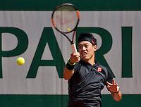 Paris, France, 25 June, 2016, Tennis, Roland Garros,  Kei Nishikori (JPN)<br /> Photo: Henk Koster/tennisimages.com