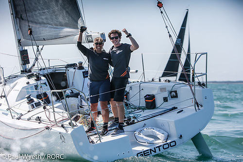 Celebrating their overall win in the IRC Two-Handed Championship - Dee Caffari and James Harayda on their Sun Fast 3300 Gentoo Photo: Paul Wyeth