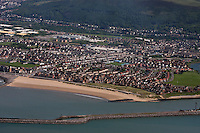 Aerial view of Port Talbot and Aberavon Beach