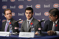 Montreal  (Quebec) CANADA - Nov 2011 File Photo - Hockey Player Max Pacioretty annonce he <br />  return to Hockey<br />  after a major injury.<br /> <br />  -  Geoff Molson (L), <br /> Max Pacioretty  (M)<br /> , Dr Vassili Papadopoulos