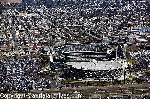 aerial photograph Oakland coliseum and arena, California