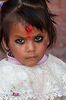 Patan, Nepal.  Little Hindu Girl with Bindi on her Forehead.