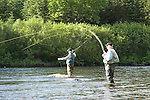 Fly fishing for Atlantic Salmon, South West River, Newfoundland