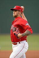 Starting pitcher Alex Scherff (18) of the Greenville Drive delivers a pitch in a game against the Rome Braves on Saturday, April 20, 2019, at Fluor Field at the West End in Greenville, South Carolina. Rome won, 5-4. (Tom Priddy/Four Seam Images)