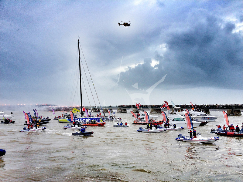 François Gabart crossed the Vendée Globe finish line at 14:18:40 UTC today, setting a new Vendee Globe and solo round-the-world record of 78 days, 2 hours, 16 minutes and 40 seconds..The Vendée Globe is a round-the-world single-handed yacht race, sailed non-stop and without assistance.